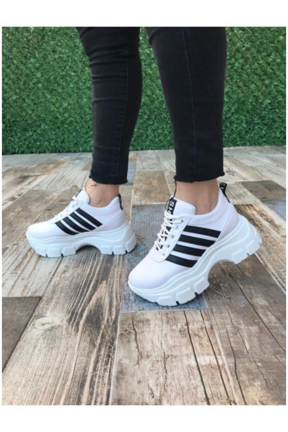 BY LENA SHOES Kadın Beyaz Taban Spor Ayakkabı