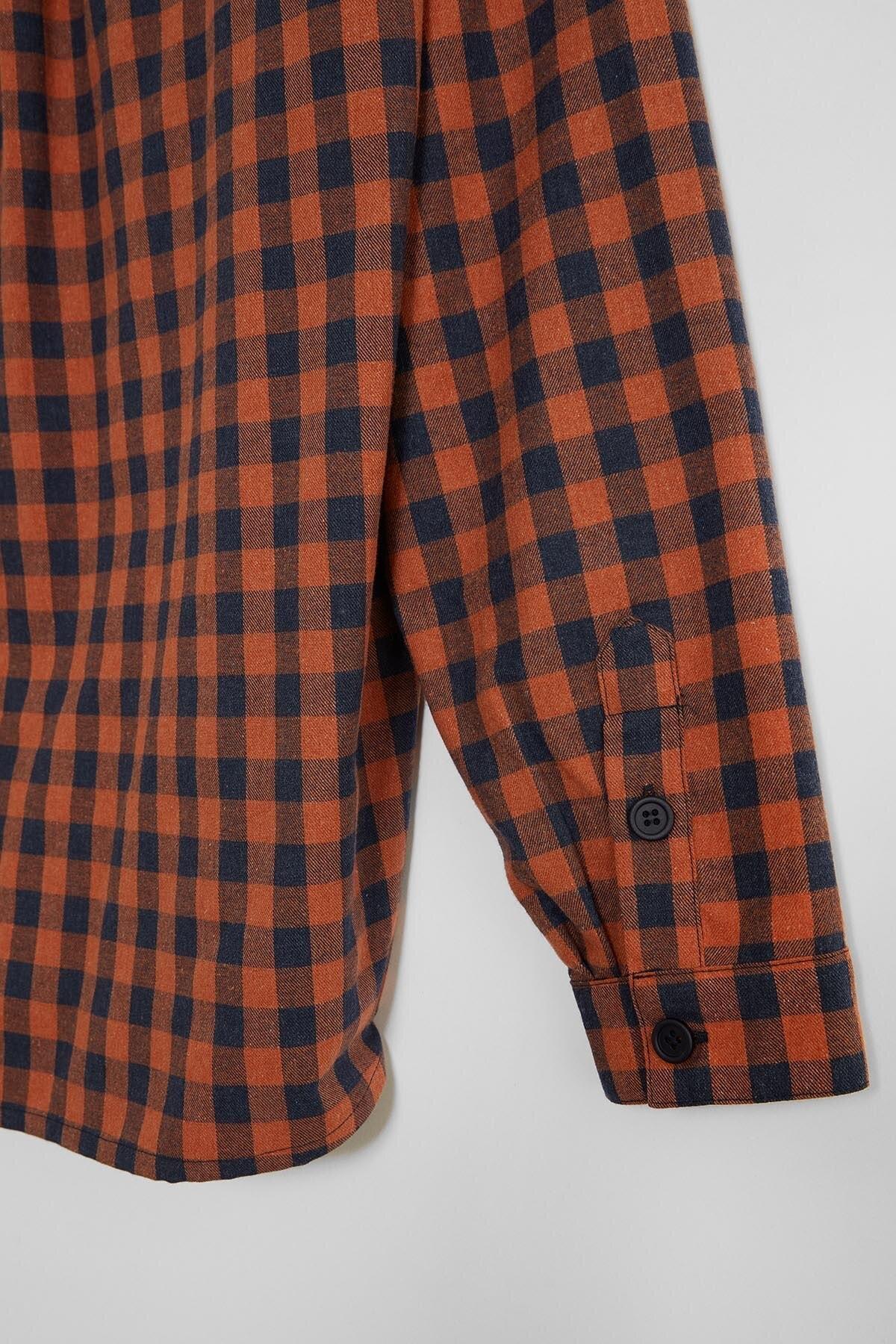 GRIMELANGE BRETT Erkek Turuncu Kareli Regular Gömlek 2