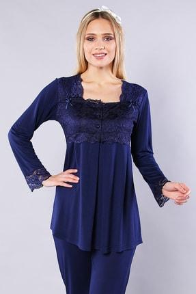 Emose Kadın Lacivert Dantelli Lohusa Pijama Takımı 0