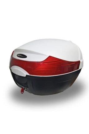 MEFATECH Motosiklet Arka Çanta Topcase Kızaklı Ful Aparatlı Mefa Tech Mf33 33lt Beyaz Renk Çanta 0