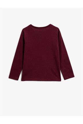Koton Kız Çocuk Bordo T-Shirt 1
