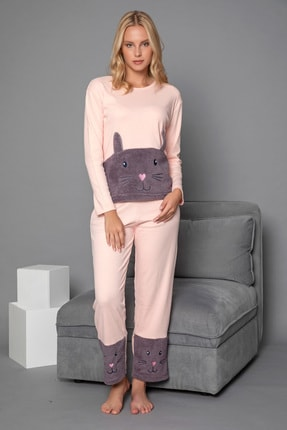 Strawberry Kadın Somon Pamuklu Interlok Pijama Takimi 1