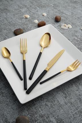ACAR Julia Gold Paslanmaz Çelik 30 Parça Çatal Kaşık Bıçak Takımı  Siyah 0