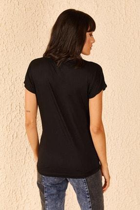Bianco Lucci Kadın Yazı Baskılı Viskon Tshirt 3