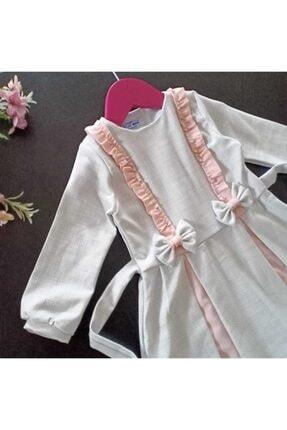 Dolly Baby Kız Çocuk Beyaz Ve Pembe Desenli Elbise 2