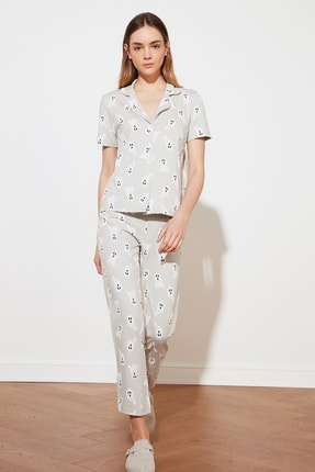 TRENDYOLMİLLA Gri Ghost Baskılı Örme Pijama Takımı THMSS21PT0193 3