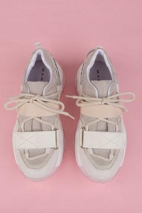 Marjin Kadın Beyaz Sneaker Dolgu Topuklu Spor Ayakkabı Cakir 3