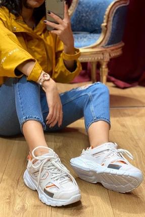 NOVELYA Beyaz Turuncu Çizgili Track Yüksek Taban Unisex Sneakers Ayakkabı 0