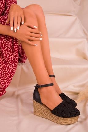 Soho Exclusive Siyah Kadın Dolgu Topuklu Ayakkabı 16041 2