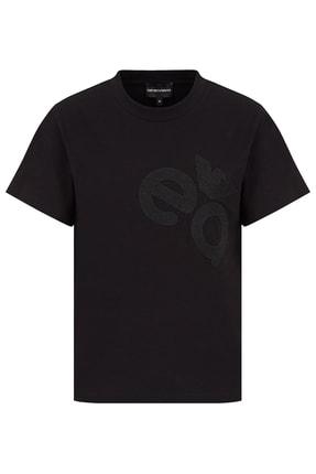 Emporio Armani Kadın Siyah Baskılı Bisiklet Yaka Pamuklu T-shirt 4