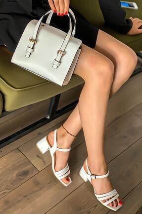 Lal Shoes & Bags Kadın Beyaz Biyeli Klasik Topuklu Ayakkabı 1