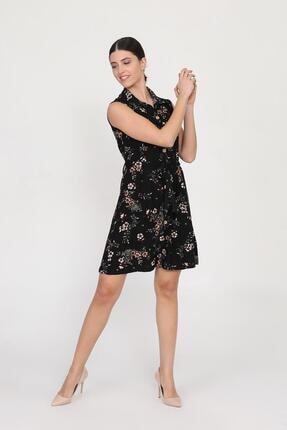 Ceylen Kadın Siyah Önden Düğmeli Desenli Elbise 3