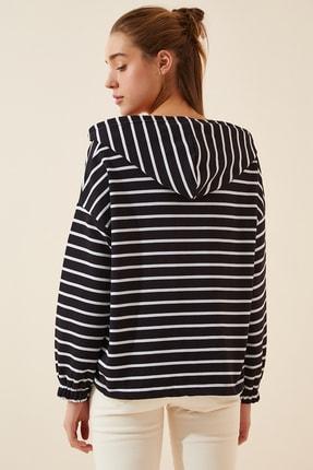Happiness İst. Kadın Siyah Fermuarlı Kapüşonlu Mevsimlik Sweatshirt ZV00137 1