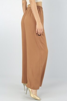 KaSheHa Kadın Vizon Beli Lastikli Kuşaklı Salaş Dokuma Viskon Pantolon 3