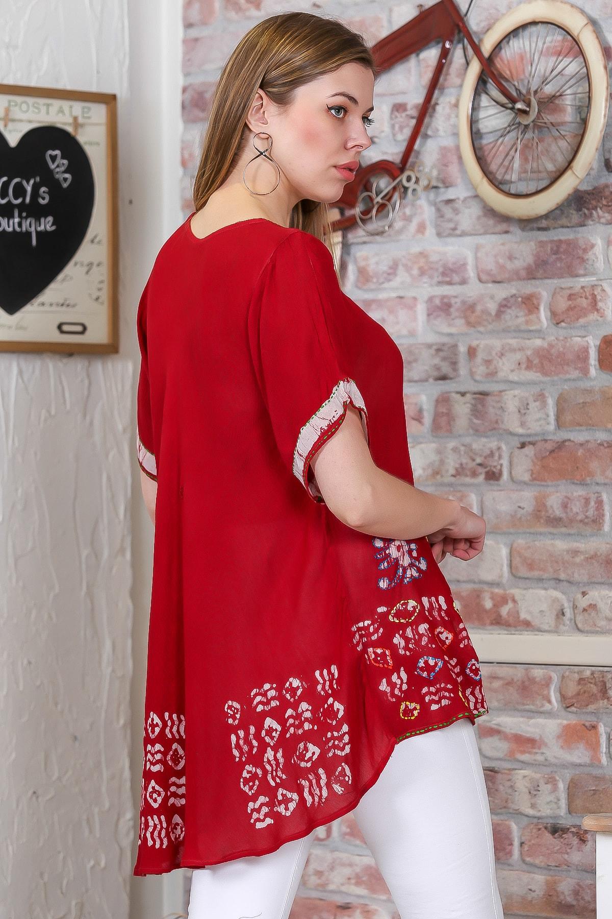 Chiccy Kadın Kırmızı Çiçek Baskılı Nakış Dikişli Kısa Kol Batik Salaş Dokuma Bluz M10010200BL95495 4