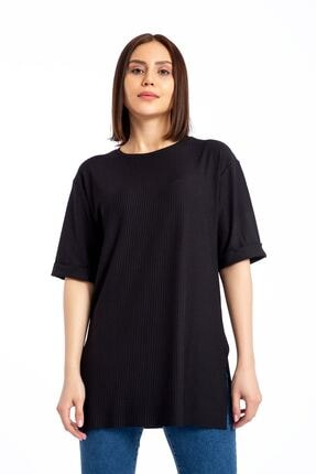GİYSA Boyfriend Kaşkorse Siyah T-shirt 3683 1