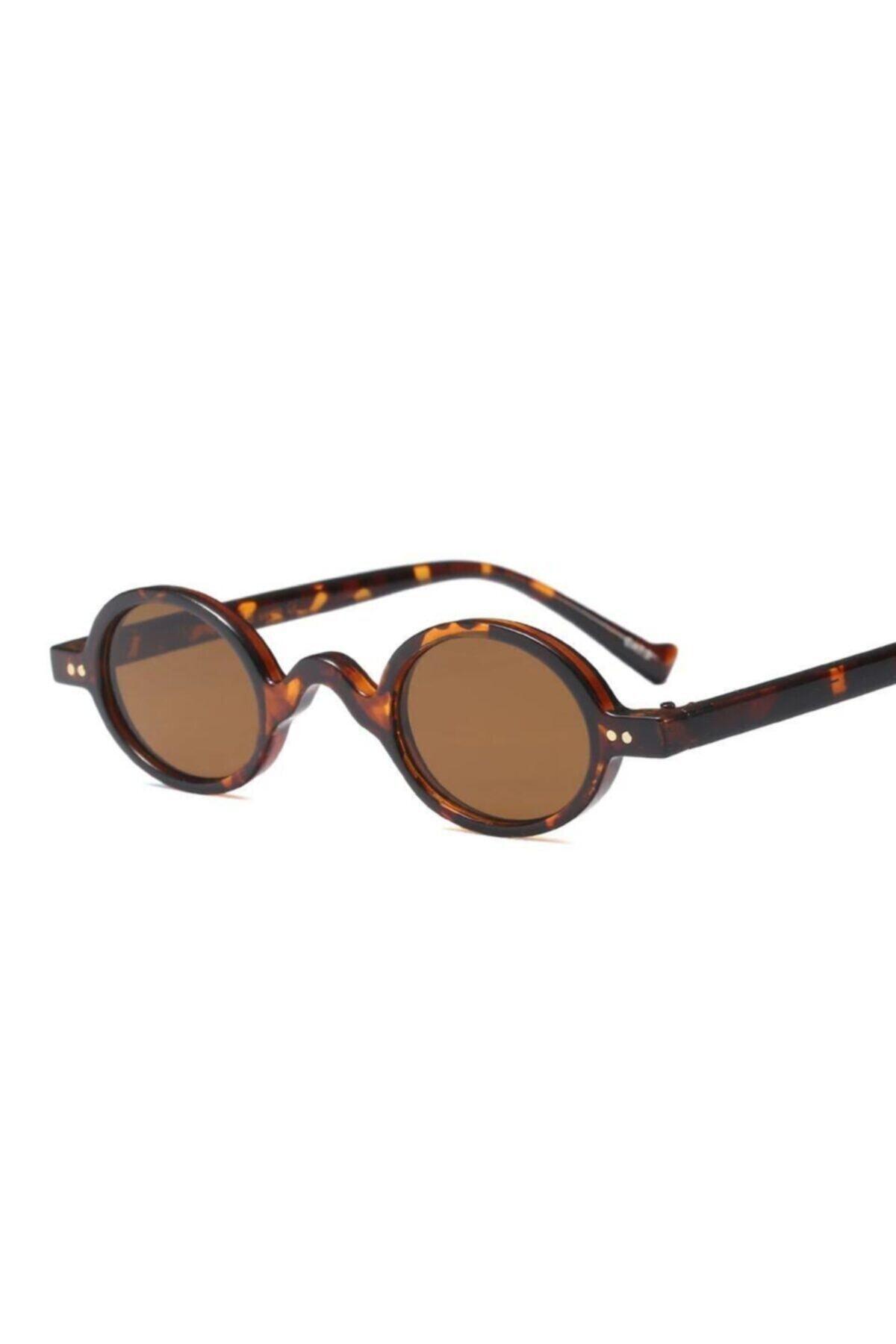 Unisex Kahverengi Minimal Vintage Retro Kemik Güneş Gözlüğü