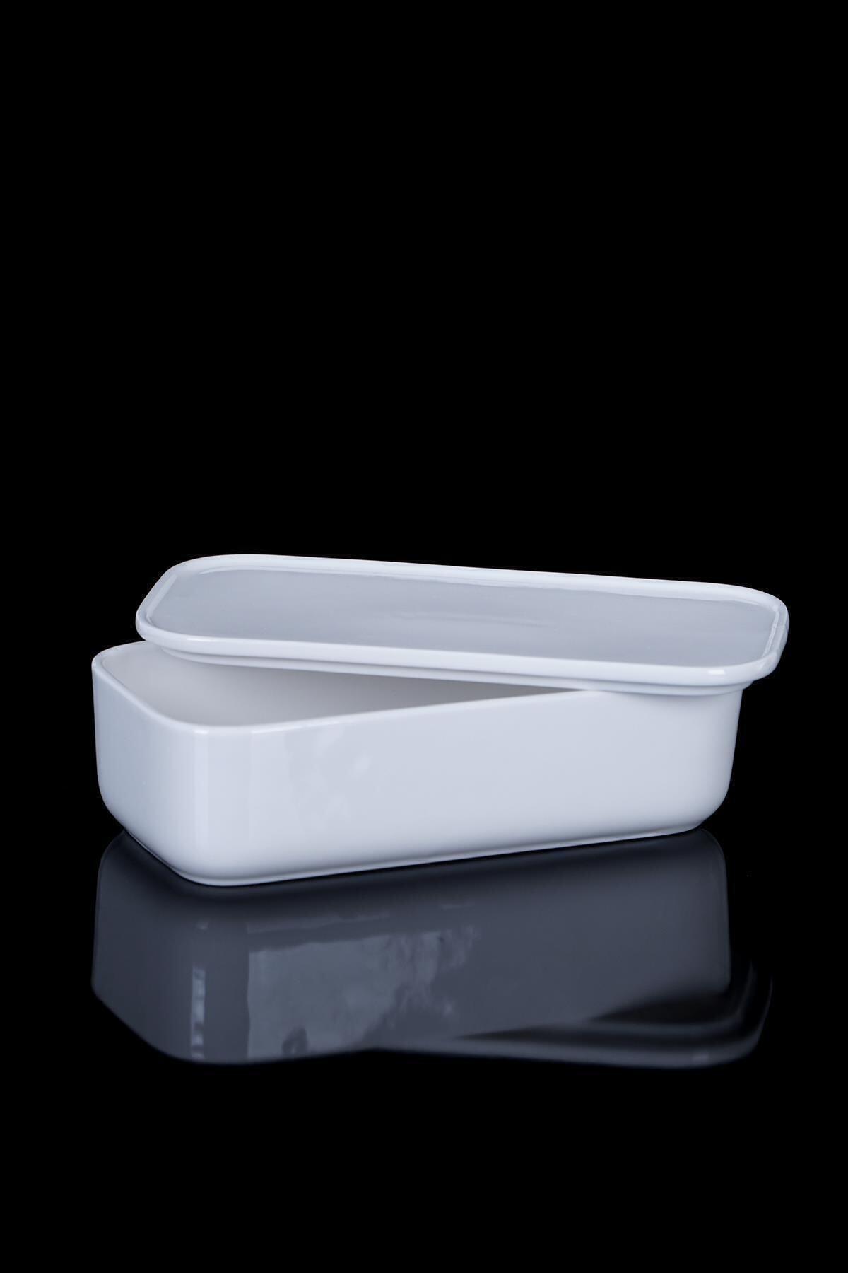 Pure White Porselen Dikdörtgen Kapaklı Kase - 18,5 Cm