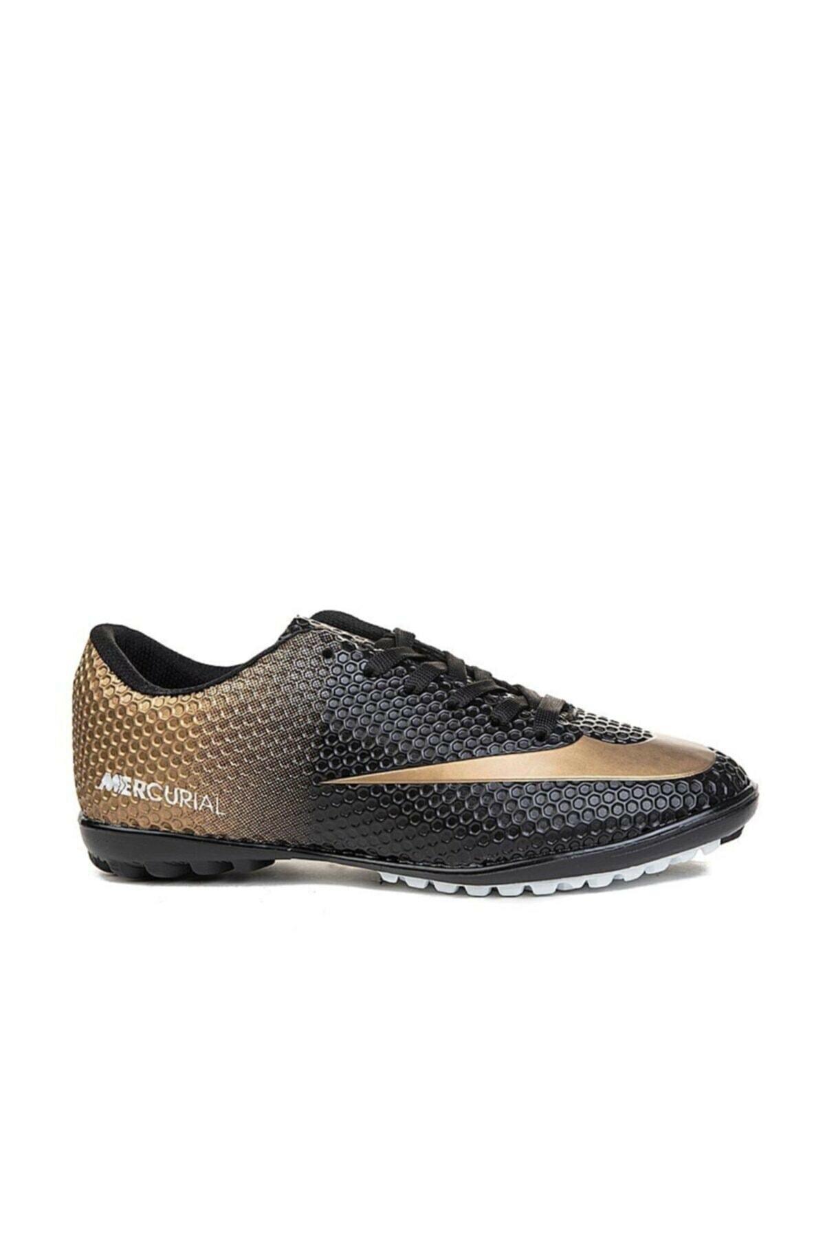 Siyah Altın Yaldız Halı Saha Ayakkabısı