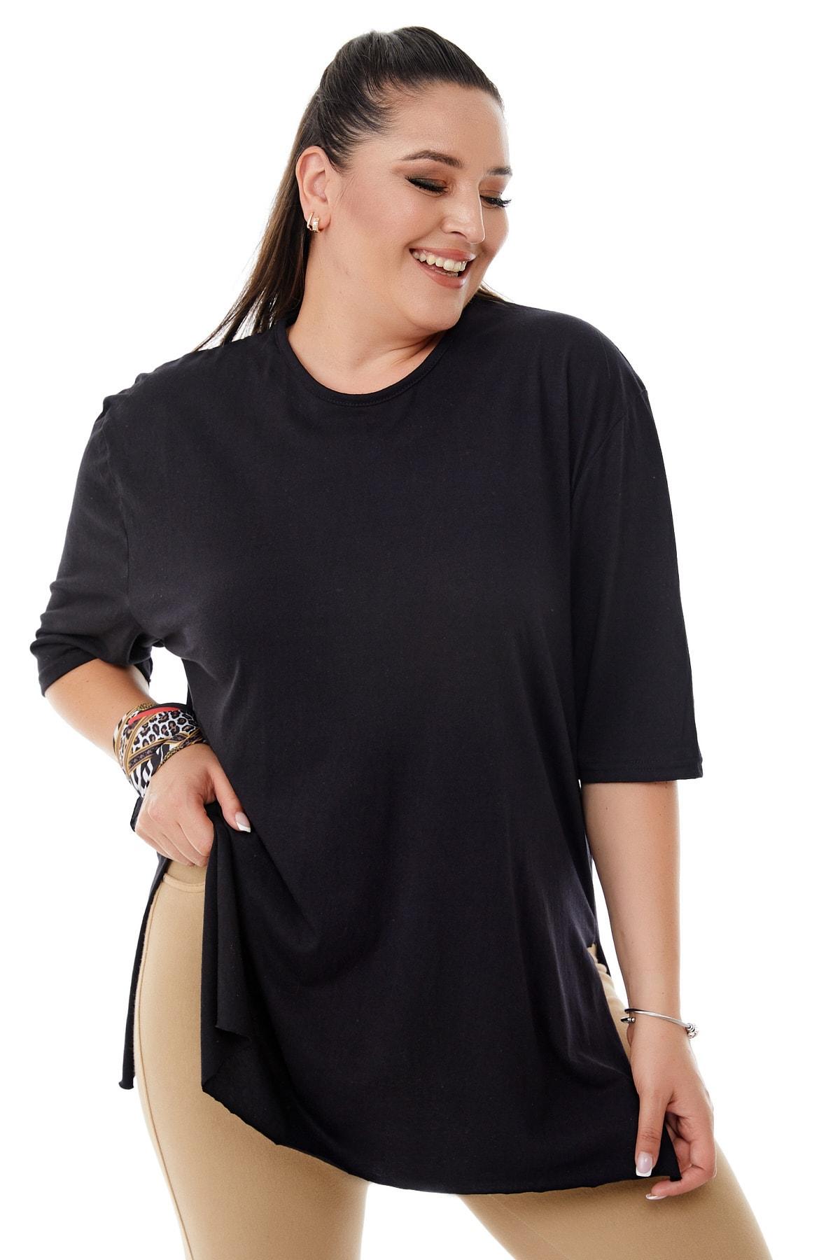 Kadın Büyük Beden Siyah Yırtmaçlı Basic T-shirt
