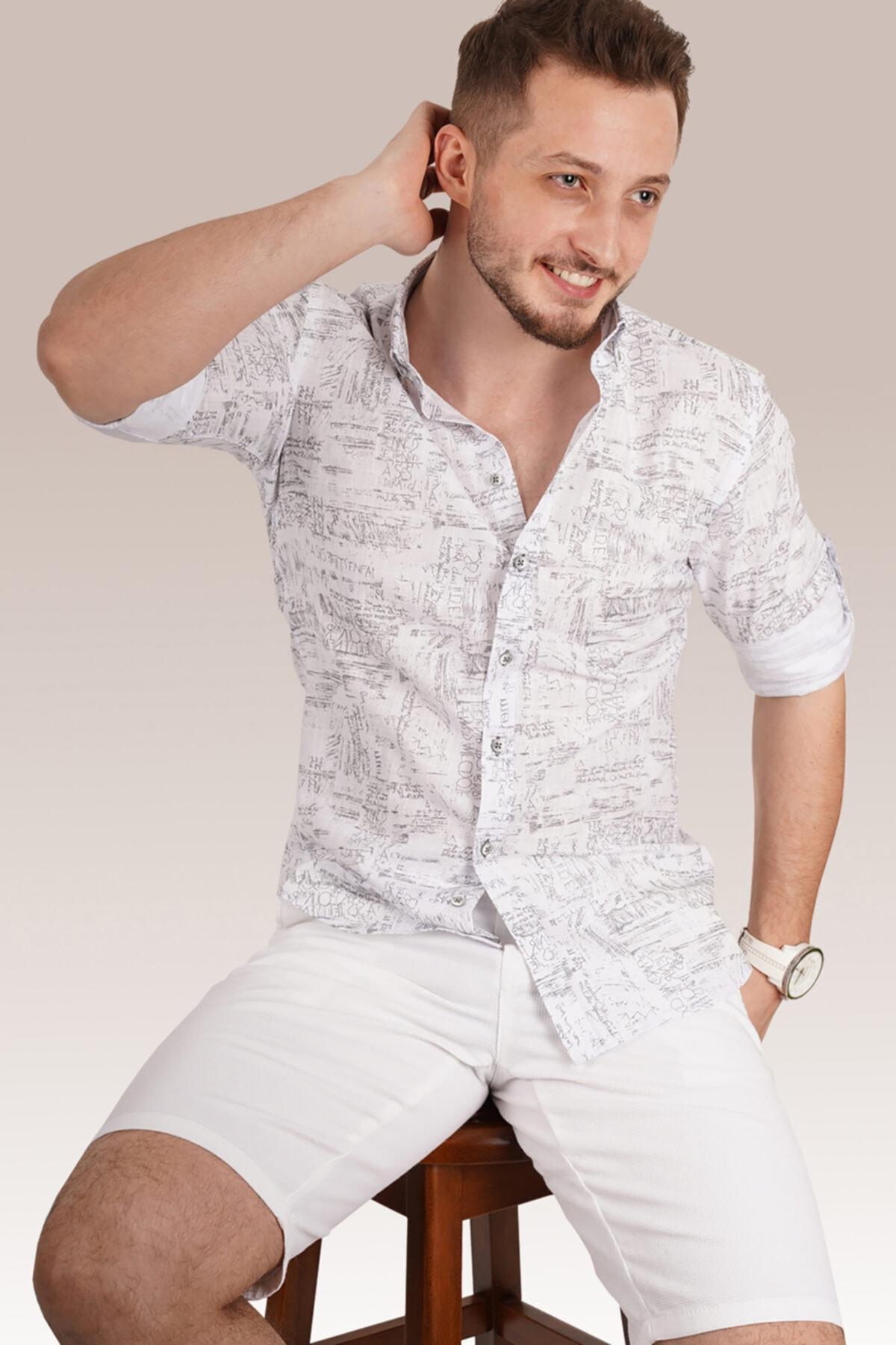 Erkek Gri Yazılı Beyaz Keten Gömlek