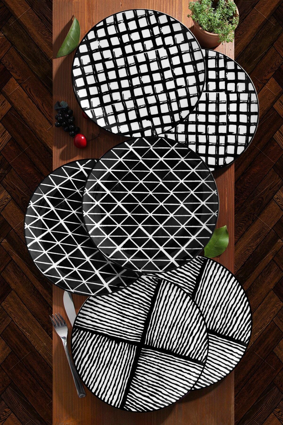 6'lı Özel Tasarım Handmade 21cm Pasta Tabak Seti - Black
