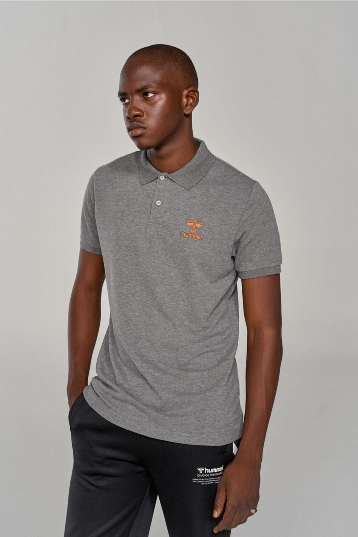 HMLLEON POLO T-SHIRT S/S Gri Erkek T-Shirt 101086234