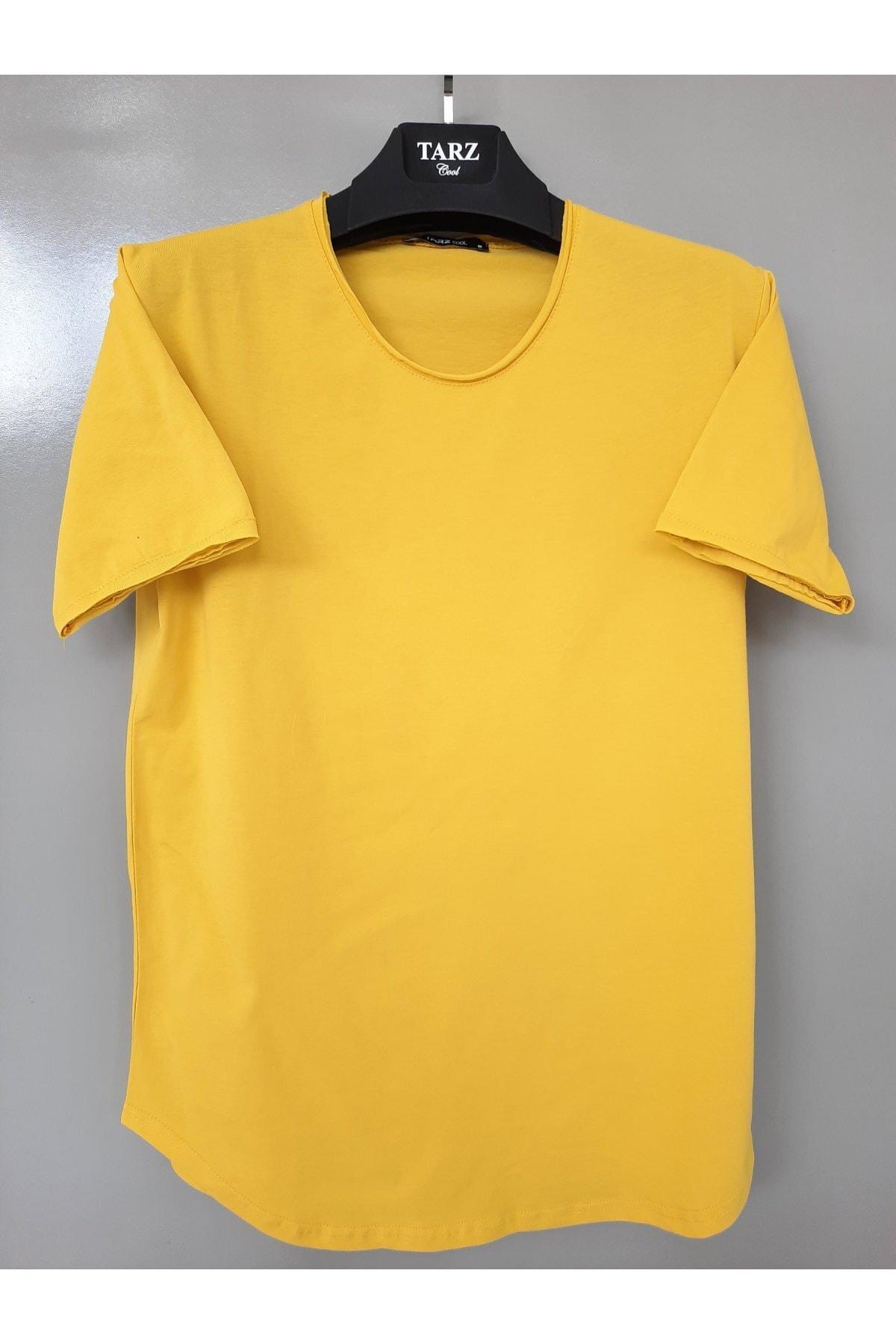 Erkek Yağ Yeşili Pis Yaka Salaş T-shirt
