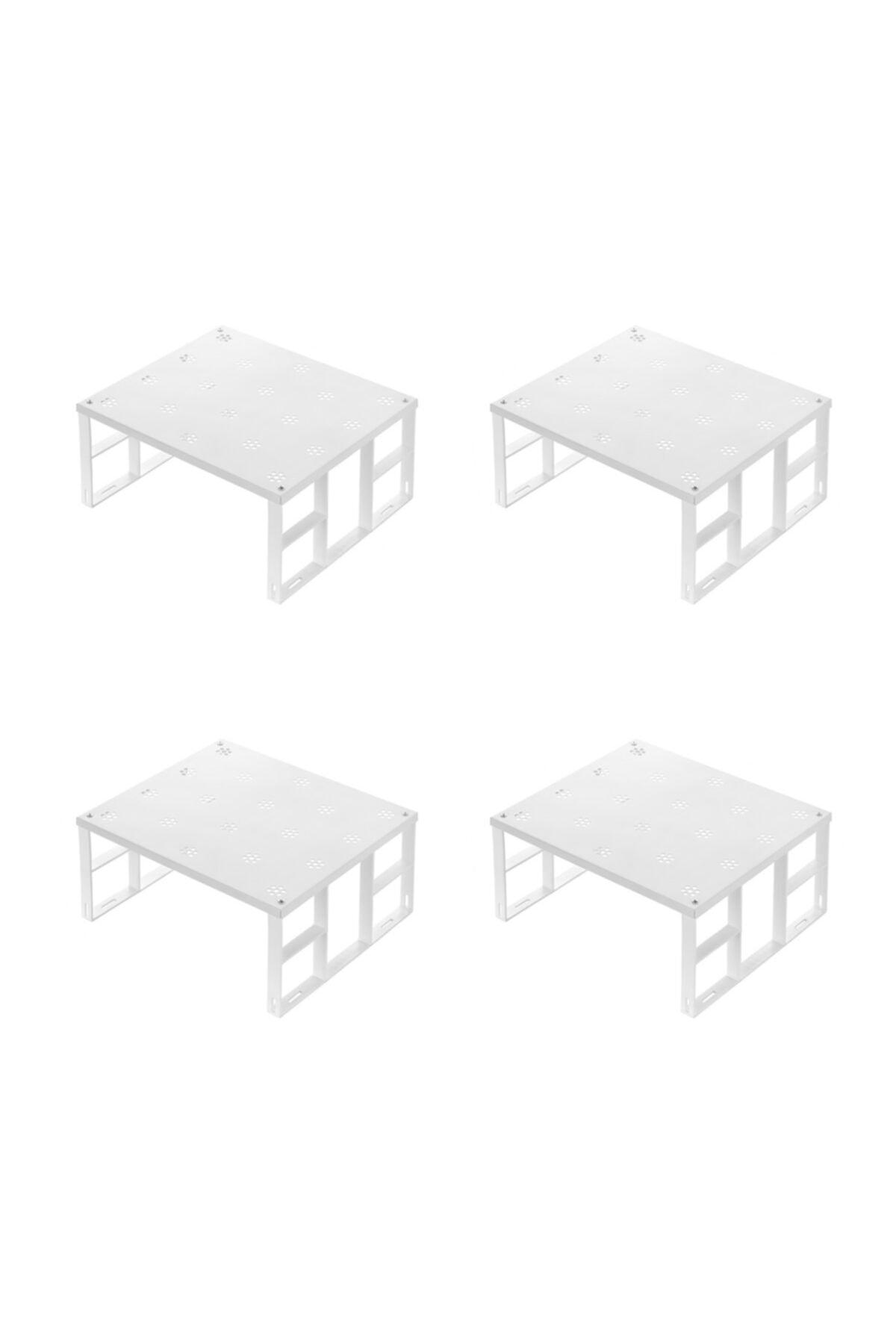 Dolap Içi Düzenleyici Raf Tabak Bardak Rafı Metal Raf 4'lü