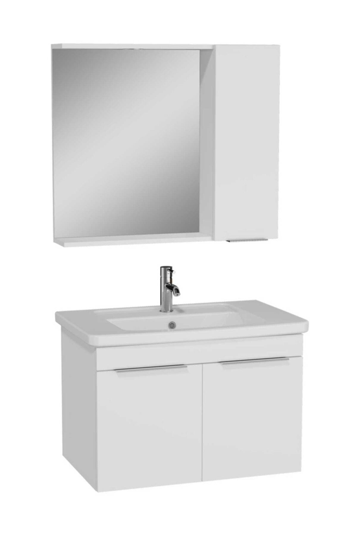 Quadrum Banyo Dolabı Seti Kapaklı 80 Cm Beyaz