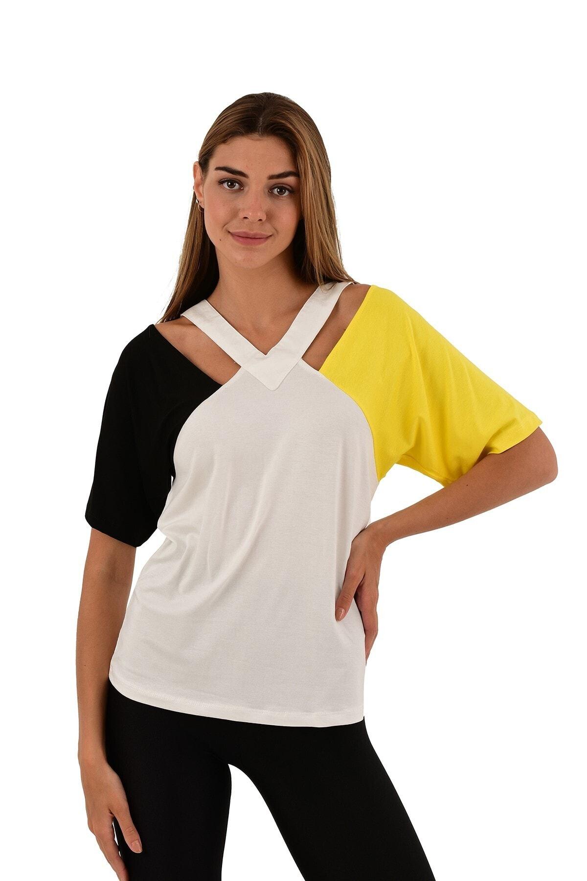 Renk Bloklu Yaka Detaylı Beyaz Bluz