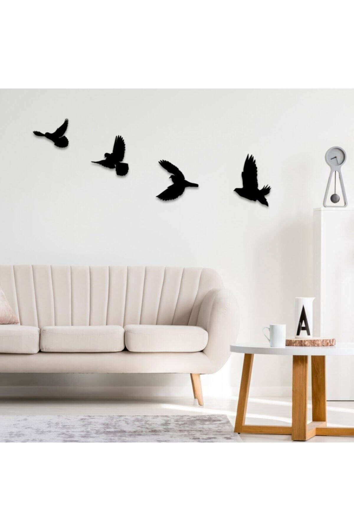 4'lü Dekoratif Ahşap Kuş Duvar Dekoru