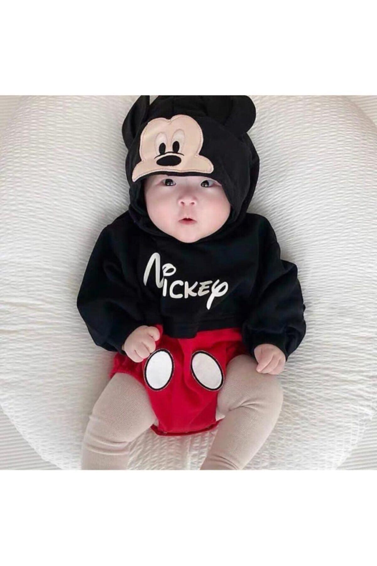 Siyah Erkek Bebek Kapşonlu Fare Baskılı Uzun Kol Badi