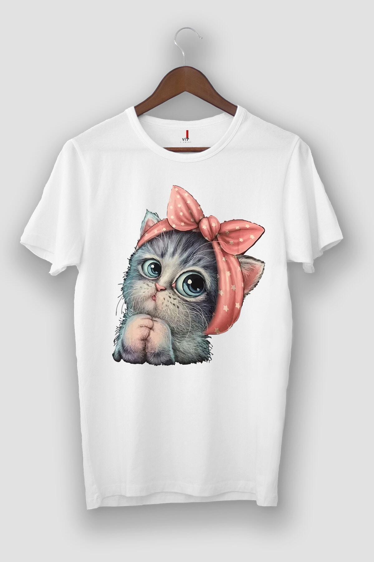 Unisex Beyaz Sevimli Minik Kedi Baskılı T-shirt