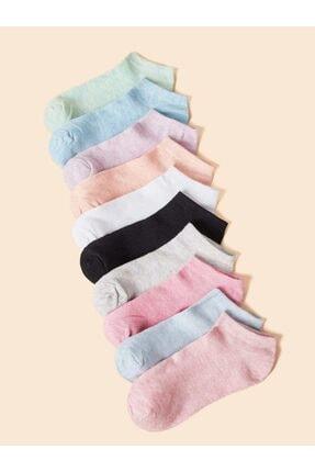 تصویر از 10 Çift Kadın Renkli Patik Çorap