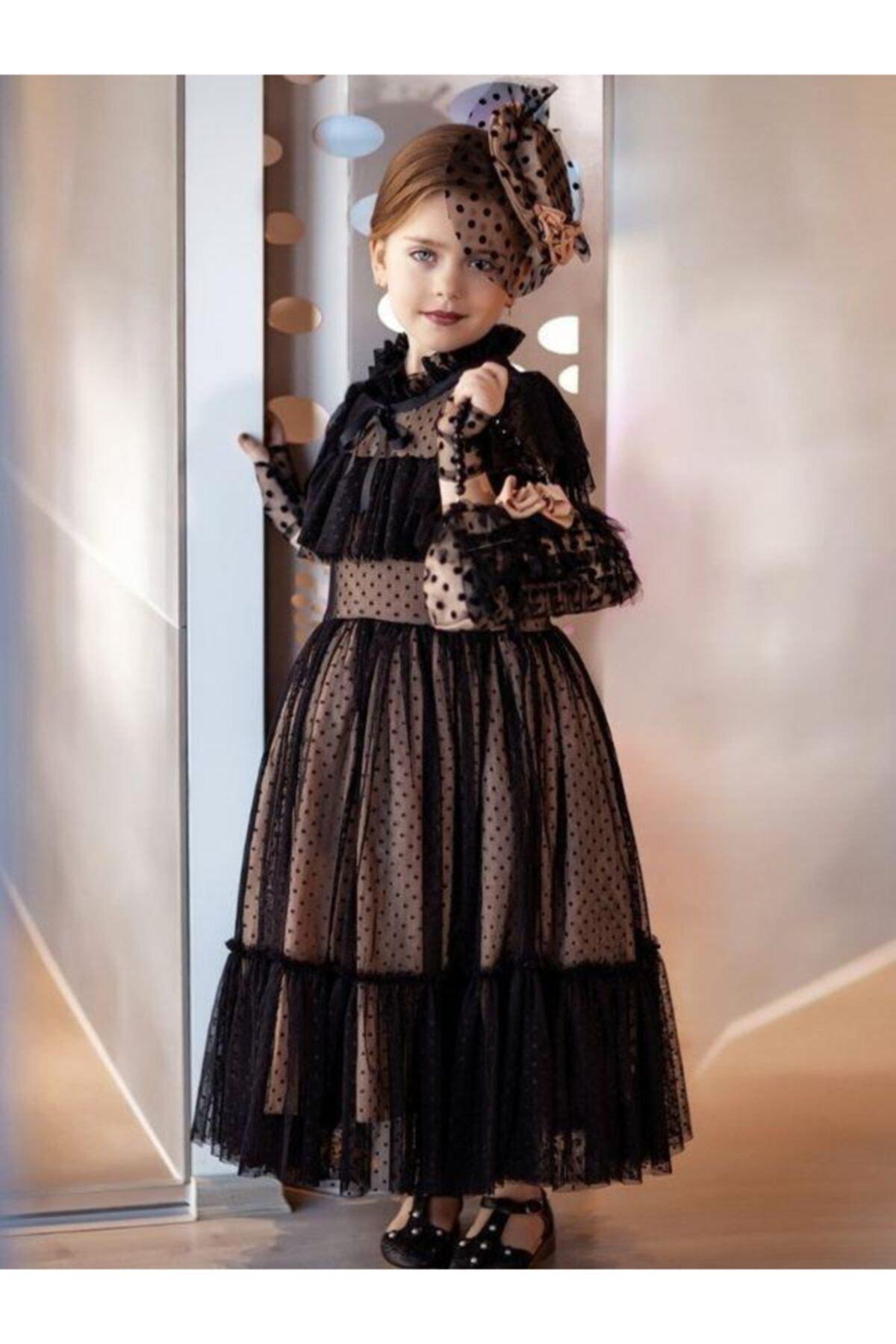 Kız Çocuk Noble Beaute Şapkalı Siyah Abiye