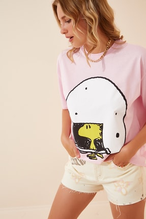 تصویر از Kadın Açık Pembe Baskılı Pamuklu T-Shirt CR00355