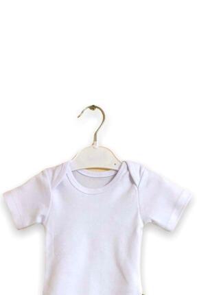 Çiçek Bebe Pamuklu Kumaştan Kısa Kollu Zıbın Genişleyen Yakalı Beyaz Renkli 3'lü Çıtçıtlı Bebek Badisi 1