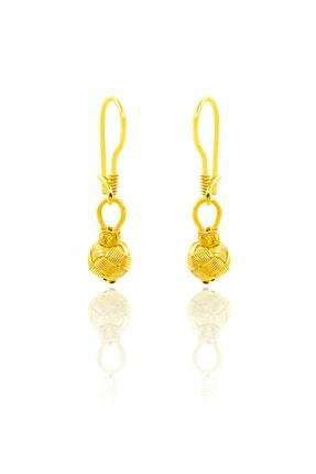 Yaldızlı Sarı Renk Kazaziye Gümüş Kadın Küpesi Kupe-395 KUPE-395