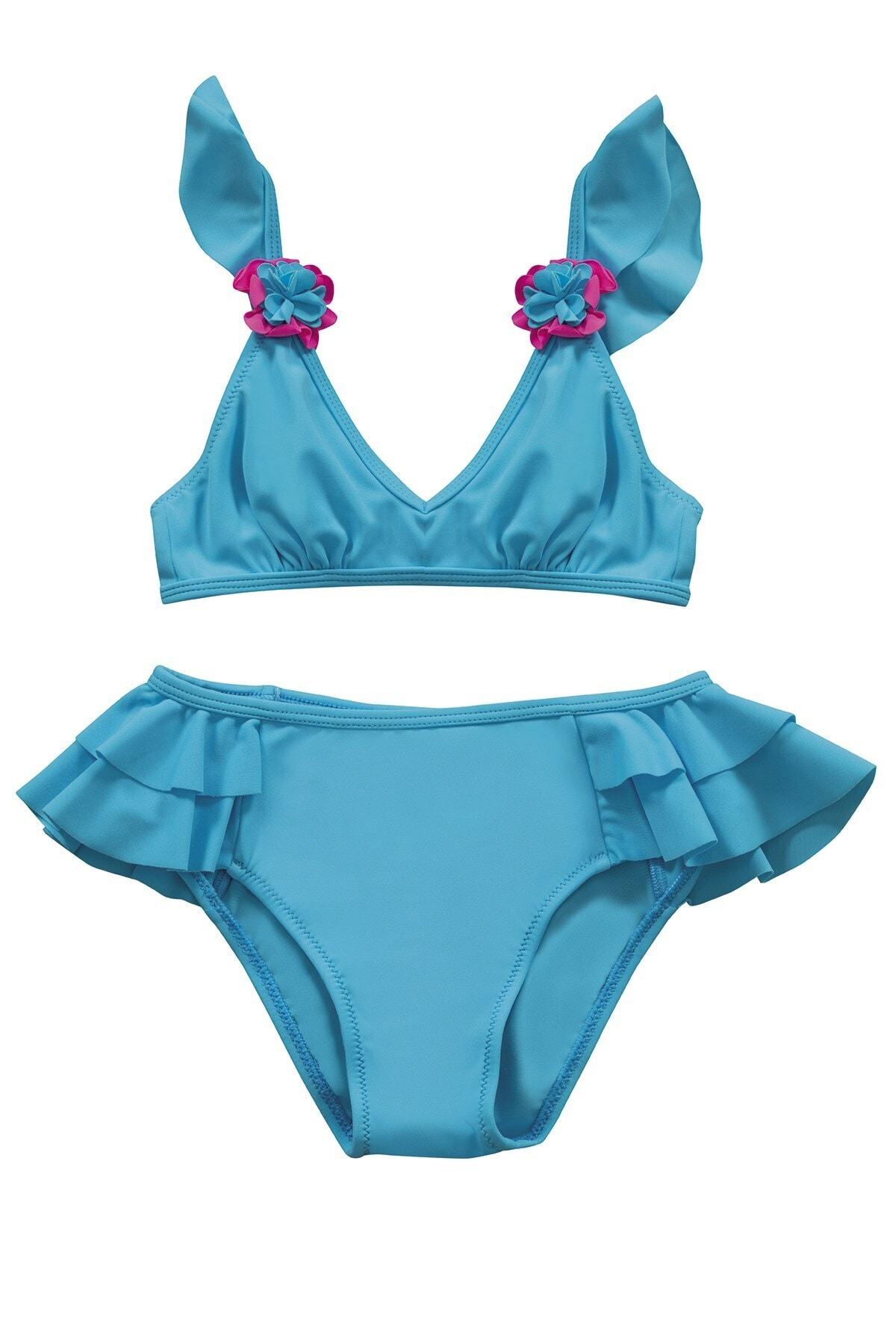 Kız Çocuk Mavi Aksesuar Detaylı Volanlı Bikini Takımı