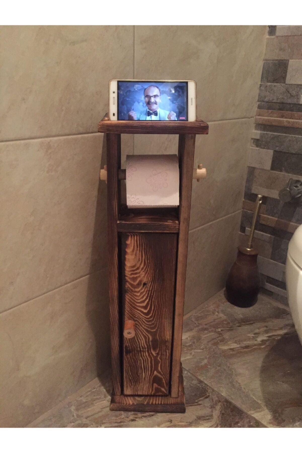 Ahşap Wc Kağıtlık Tuvalet Telefon Tutucu Standı Özellikli Banyo Kağıtlık