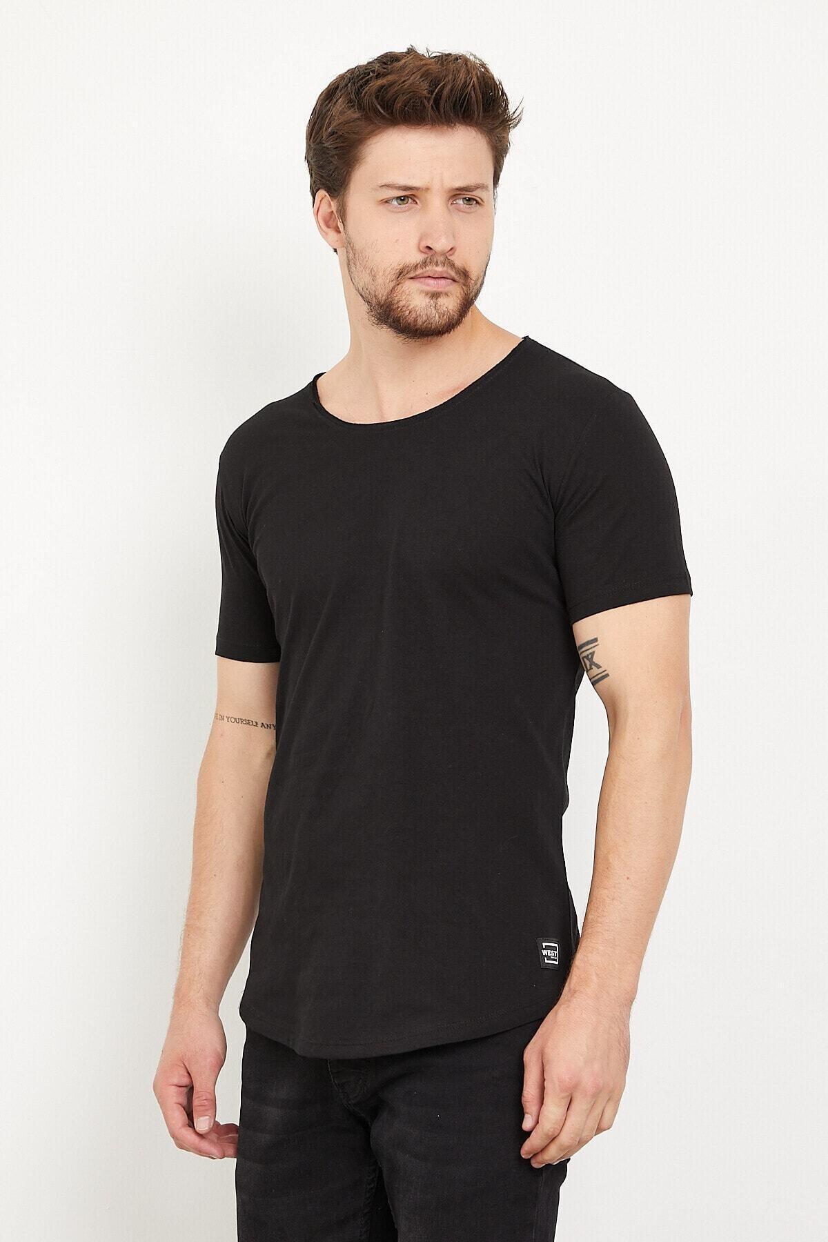 Erkek Siyah Pis Yaka Basic T-Shirt