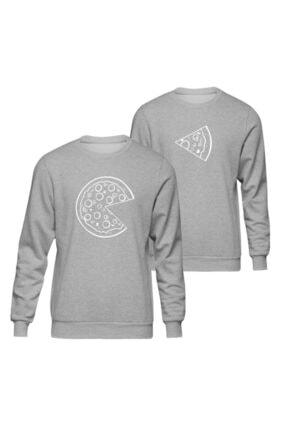 Sevgili Çift Kombinleri Pizza Slice 2 Ürün Gri Sweatshirt ST153SCK1180