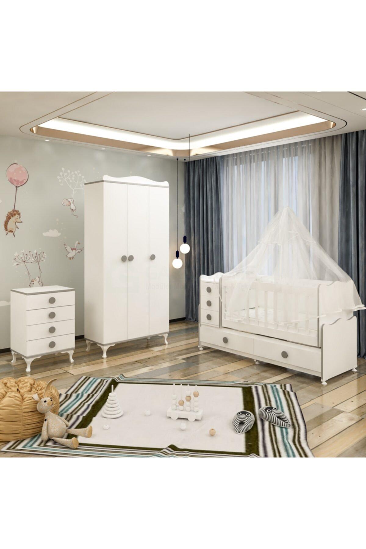 Yıldız 3 Kapaklı Bebek Odası Takımı Gri Yatak Ve Uyku Seti Kombinli Gri Uykusetli