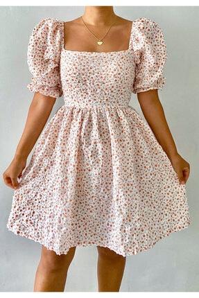 Çiçekli Balon Kol Elbise Turuncu Çiçekli Elbise