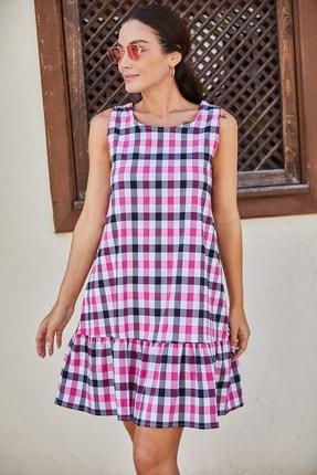Kadın Pembe-Siyah Kareli Eteği Firfirli Kolsuz Kisa Elbise ARM-21Y001039