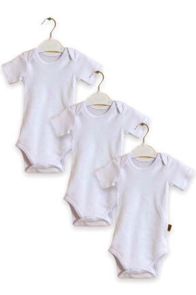 Çiçek Bebe Pamuklu Kumaştan Kısa Kollu Zıbın Genişleyen Yakalı Beyaz Renkli 3'lü Çıtçıtlı Bebek Badisi 0