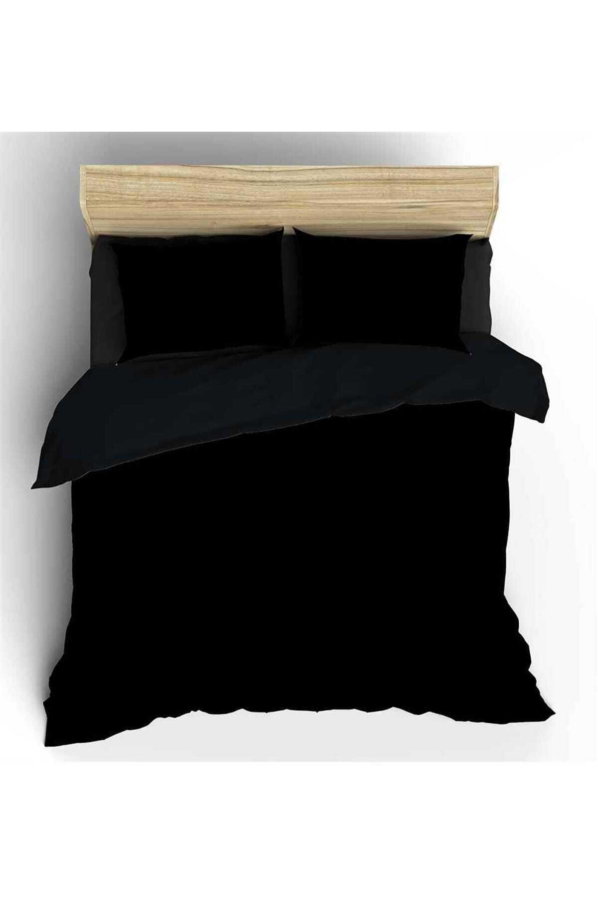 Siyah Maki Pamuk Çift Kişilik Nevresim ve Yastık Kılıfı