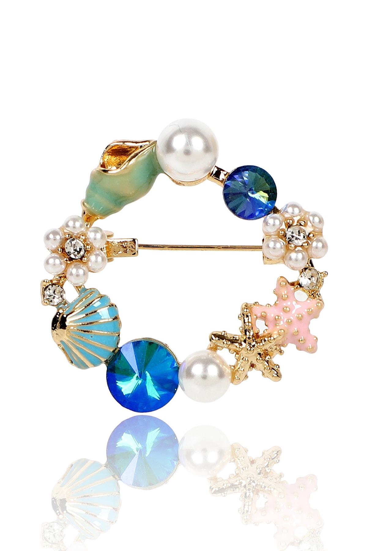 Mavi Deniz Kabuğu Deniz Yıldızı Broş
