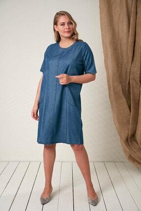4015 Kadin Büyük Beden Kot Elbise Lacivert 121YX0104015009